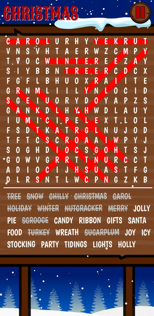 christmas word search game screen