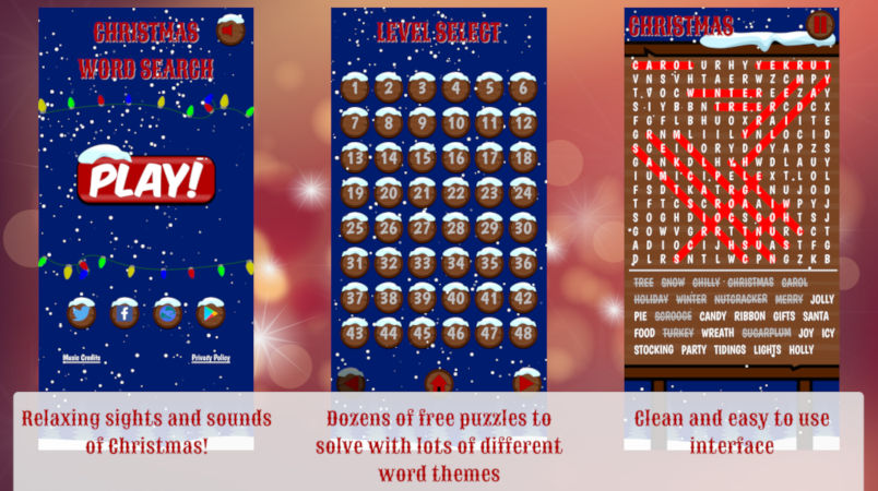 christmas word search android game